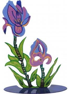 Fleur Tailler au laser + peint a la main fleurs d'Iris