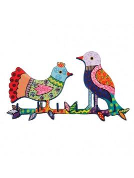 Porte clefs en métal peint a la main Thème d'oiseaux
