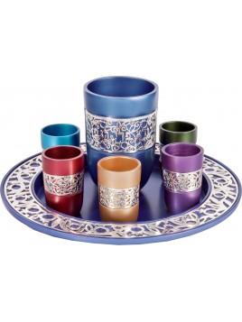 Set de Kidouch broderie argenté multicolore