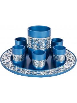 Set de Kidouch broderie argenté turquoise