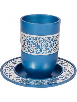 Coupe de Kiddouch avec ornement plaque argent tons Bleu
