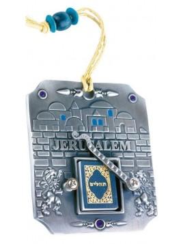 Porte cle Tehilim ( Psaumes ) etain