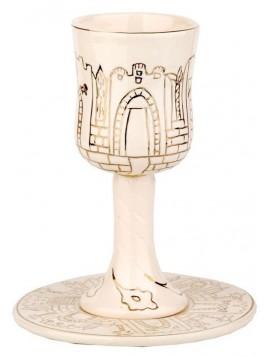 Coupe de Kiddouch + sous coupe Oren Design en porcelaine