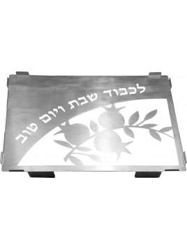 Plateau avec verre taillee au laser Shabbat