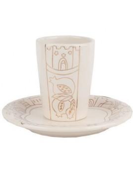Coupe de Kiddouch en Porcelaine + sous coupe Golden Design