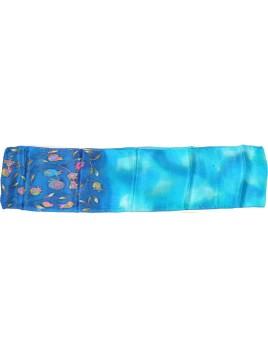 echarpe en soie design grenade Design bleu
