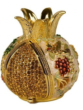Grenade ivoire porte bessamim (enssence) sertie de cristaux