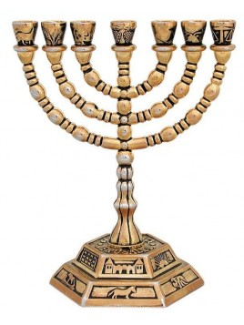 Menorah 7 Branches 12 cm tribus Design Or