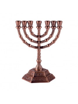 Menorah 16cm les 7 tribus design bronze