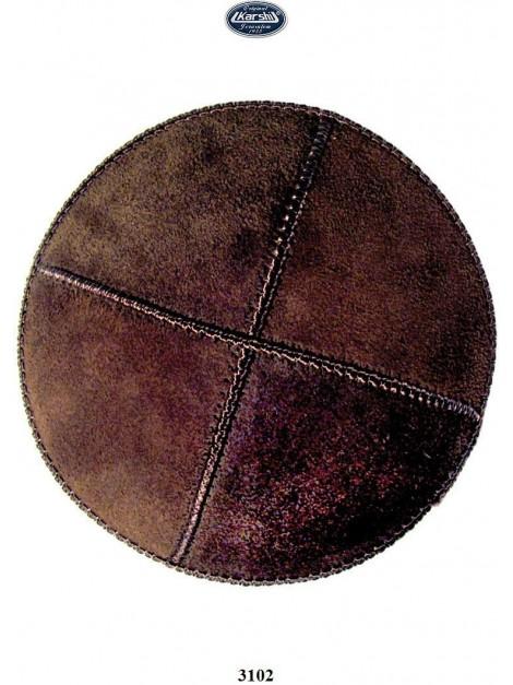Kippa en cuir16 cm marron