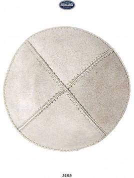 Kippa en cuir16 cm Blanc casse