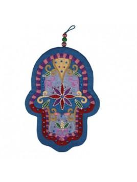 Embroidered Hamsa + Crystals - Large