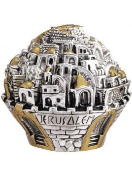 Balle sur theme Jerusalem Large Plaque argent 925