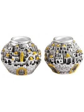 Bougeoirs En forme de Balle Jerusalem Plaque argent 925