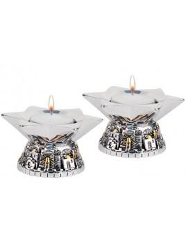 Bougeoirs moderne Jerusalem Base Plaque argent 925