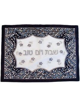 Couvre Hala Jerusalem bleu & Argente