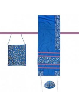 Set de Talit Kippa et Pochette brodes Fleur de Lys bleu