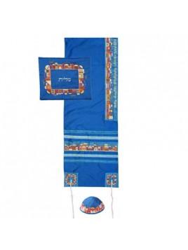 Set de Talit Kippa et Pochette brodes Jerusalem sur bleu
