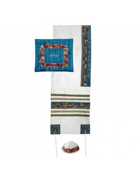 Set de Talit Kippa et Pochette brodes Jerusalem sur blanc