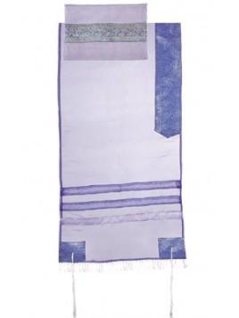 Set de Talit Pochette et Kippa assorties en Organza bleu clair