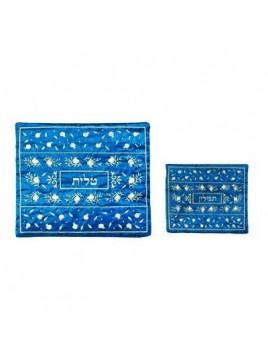 Pochette pour le Talith Brode Machine Les 12 Tribus Bleu