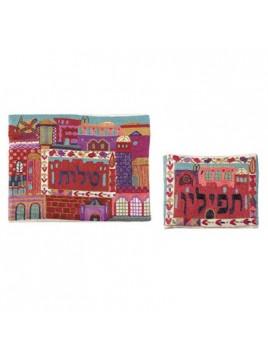 Pochette pour le Talith Brode Fait-main Jerusalem en couleur