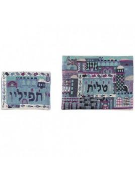 Pochette pour le Talith Brode Fait-main Jerusalem la nuit