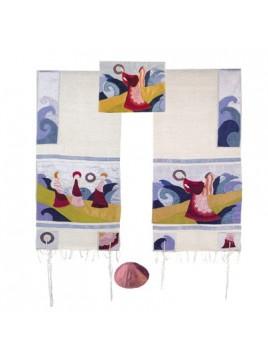 Set de Talit pochette et Kippa artistique decore de bandes en soie Myriam lors de la traverser de la mer rouge