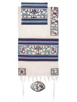 Set de Talit pochette et Kippa brode a la main Menorah bleu