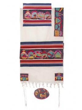 Set de Talit pochette et Kippa brode a la main Les 12 tribus