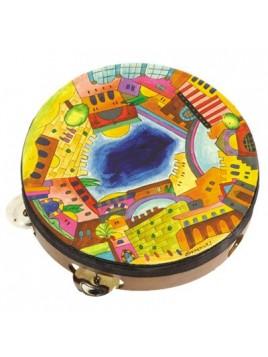 Tambourin de Myriam sur cuir Jerusalem