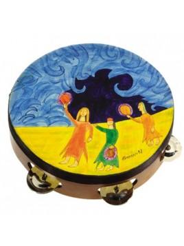 Tambourin de Myriam sur cuir Arc de noa'h