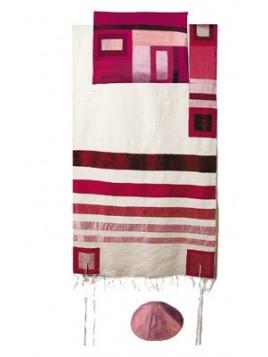 Set de Taleth pochette et Kippa avec bande de soie applique bordeaux sur blanc