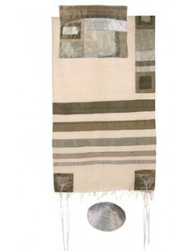 Set de Taleth pochette et Kippa avec bande de soie applique argente sur blanc