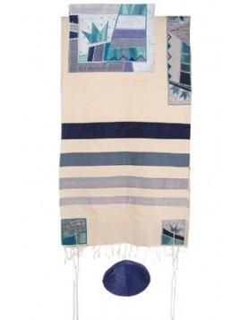 Chale de priere artistique avec bandes de soie applique courone de la torah