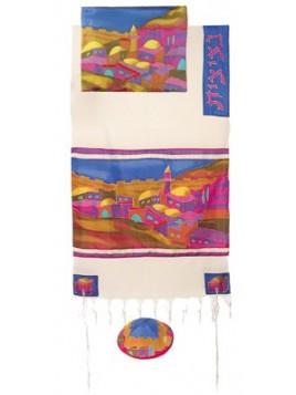 Talit coton et soie paint a la main Jerusalme en couleur