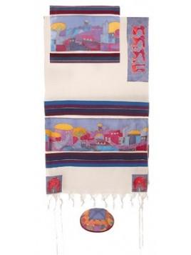 Talit coton et soie paint a la main Les murailles de Jerusalem