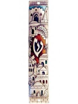 Boitier Mezouzah Jerusalem avec colors 10cm