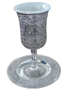 Kiddush Cup w/Coaster Filigree