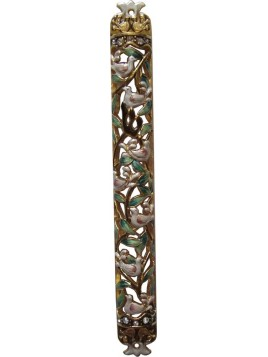 Mezuzah Enamel Doves 10 cm