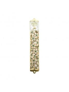Boitier Mezouzah sertie de cristaux 12 cm ivoire vert