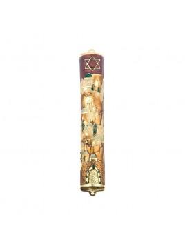 Boitier Mezouzah sertie de cristaux 12 cm maron et rouge
