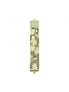 Boitier Mezouzah sertie de cristaux 12 cm Ivoire sur vert