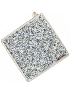 Sous plat tissus carrelé Blanc / Bleu