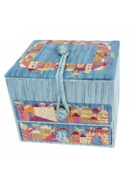 Boîte à bijoux brodé avec tiroirs Jérusalem Bleu