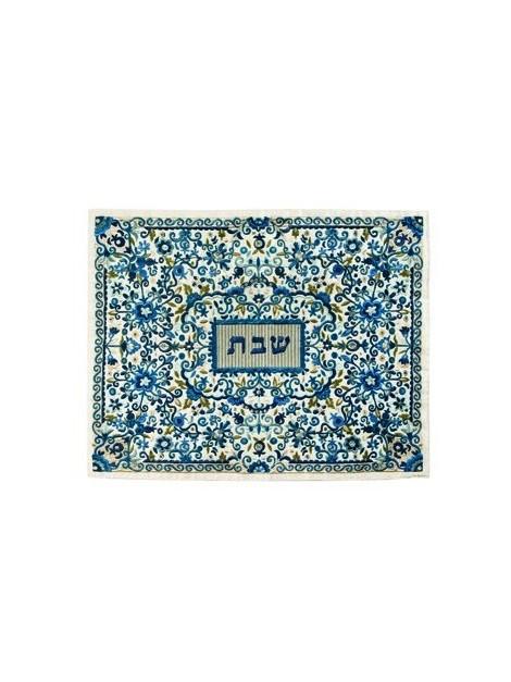 Couvre Halla de Chabbath entièrement brodée Bleu