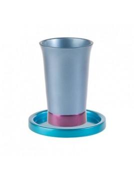 Verre de Kiddouch avec assiette assortie anodisé turquoise + bleu