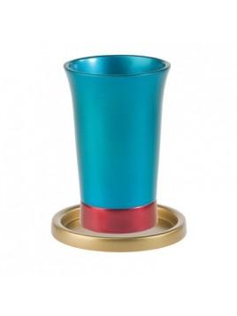 Verre de Kiddouch avec assiette assortie anodisé Couleur Or + turquoise