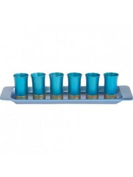 Set de 6 verres avec assiette assortie anodisé bleu + turquoise