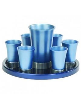 Set de Kidouch verre et avec assiette assortie + Set de 6 verres anodisé bleu